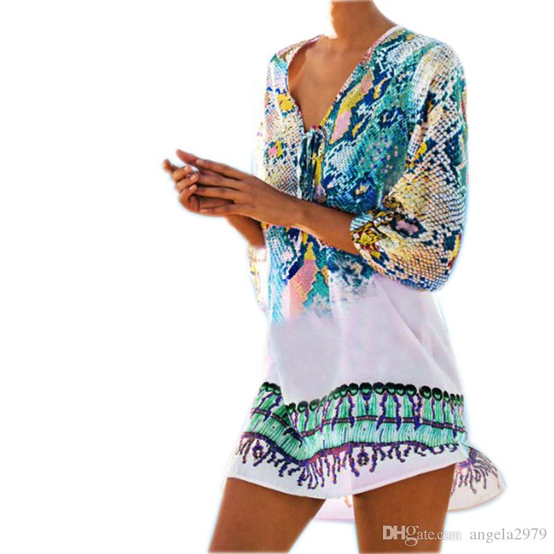 64c75416937dc 2019 Bathing Suit Beach Caftan Swimsuit Cover Up Print Chiffon Pareo Women  Robe Plage Swimwear Dress Sexy Sarong Beach Tunic From Angela2979
