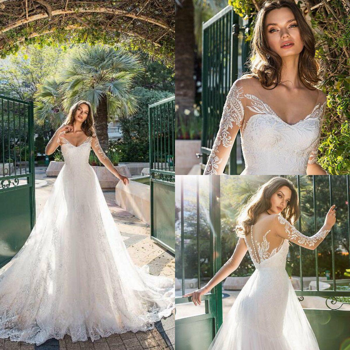 Spring Wedding Dresses.Brand 2019 Spring Wedding Dress Sheer Long Sleeve V Neck Lace Applique Bridal Gowns Mermaid Wedding Dresses With Detachable Overskirt