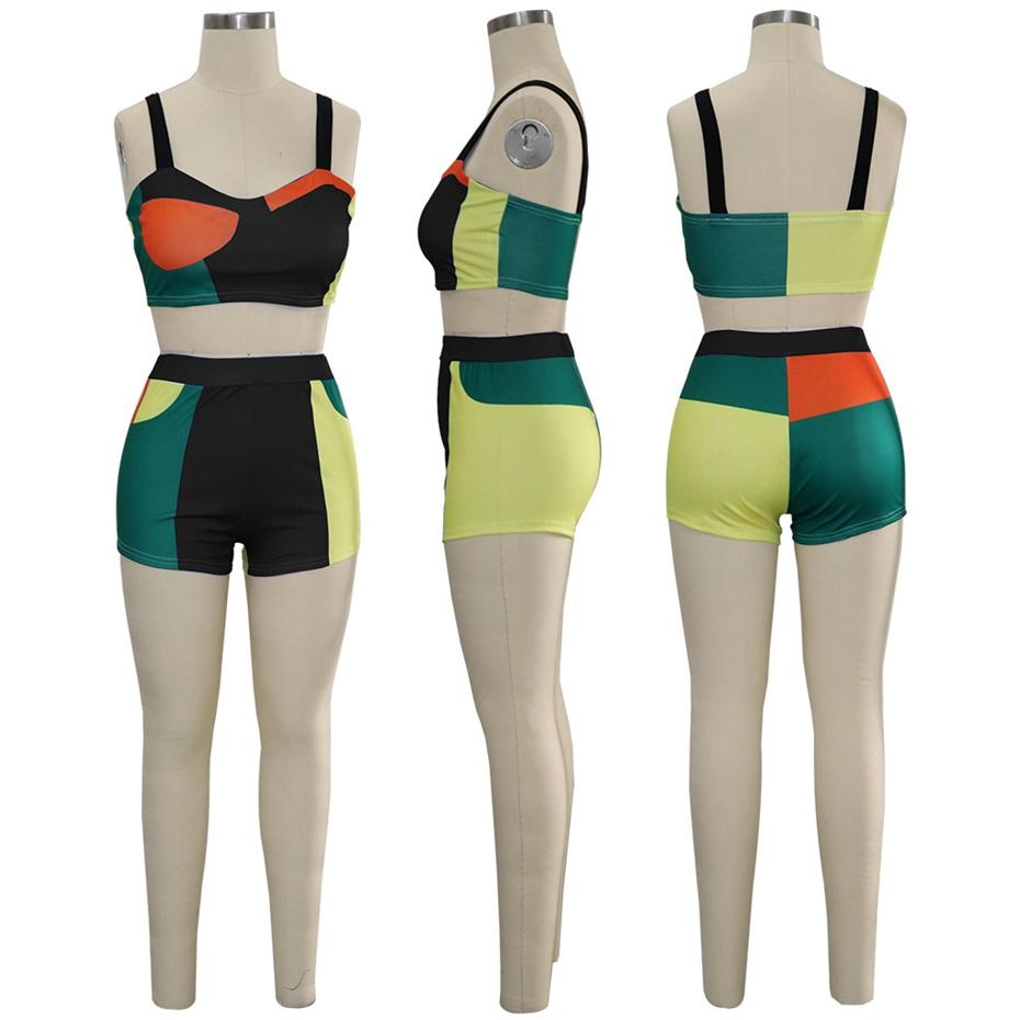 Casual Color Block Two Piece Set Summer Outfits Tracksuit Beach Bodycon Crop Top And Shorts Suits Sexy 2 Piece Set Women Female