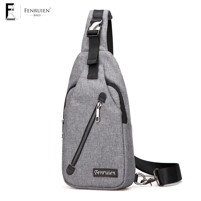 FRN Men Chest Bag Pack Fashion Leisure Waterproof Men Oxford Cloth Korea Style  Messenger Shoulder Bag For Teenager Male Messenger Bags For Men Leather ... 105bed3905941