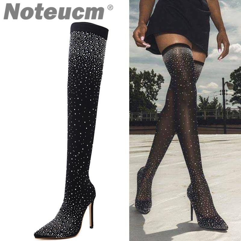 a4a942d67a2 2018 Female Autumn Sexy Sequin Cloth Stocking Thigh High Heel Over The Knee  Boot Elastic Shoe Glitter Stiletto Fashion For Wome Shoe Boots Over Knee  Boots ...