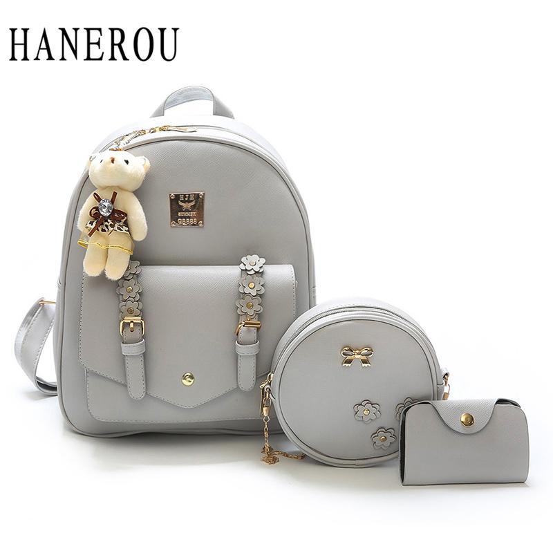 8f66af0234 HANEROU Preppy Style Women Backpack Flower Youth Leather Backpacks For  Teenage Girls School Shoulder Bagpack Bear Backpacking Backpacks  Personalized ...