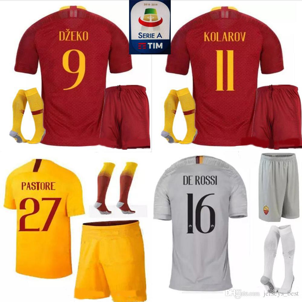 0c6bdfce6 2019 NEW 18 19 ROME Home Soccer Jerseys Uniforms TOTTI ROMA DZEKO Sports DE  ROSSI Jersey 2018 2019 EL SHAARAWY NAINGGOLAN Football Shirt Kit From ...