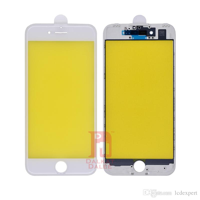 For iPhone 7 Front Touch Screen Panel Outer Glass Lens + Cold Glue Middle Frame Bezel Assembly Replacement Parts For iphone 7G