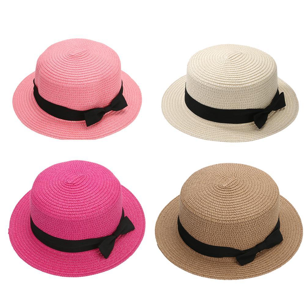 Compre Nueva Moda De Verano Para Mujer Sombrero Para El Sol Sombrero Bloque  De Paja Casquillo Del Arco Sombreros Para El Sol Ala Ancha Para Niña Mujer  ... 91e9acef40c