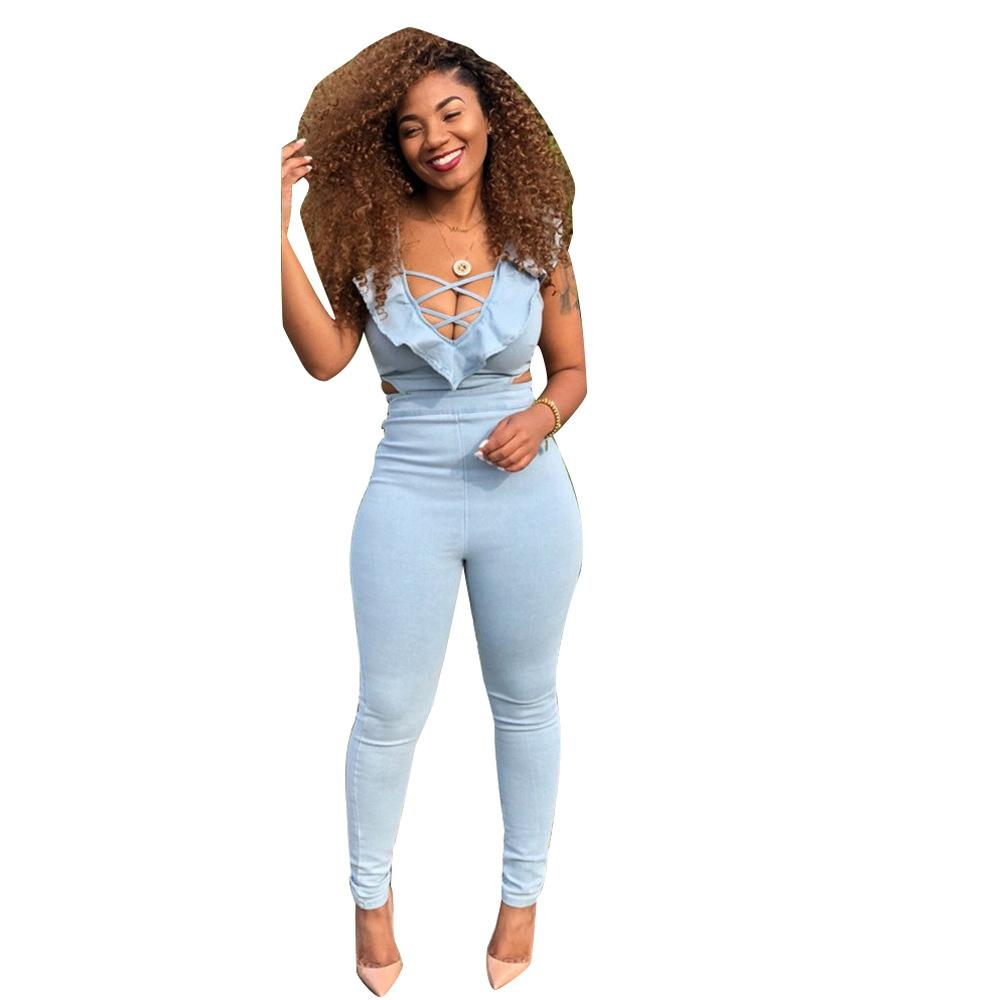 XLLAIS Summer Ruffles Stretch Jumpsuits Women Sexy Off Shoulder Tight Streetwear Romper Womens Vacation Soft Overalls Clothes