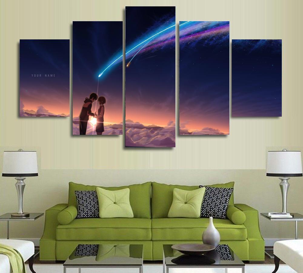 2019 5 Panels Wall Art Your Name Kimi No Na Wa Paintings Art Canvas