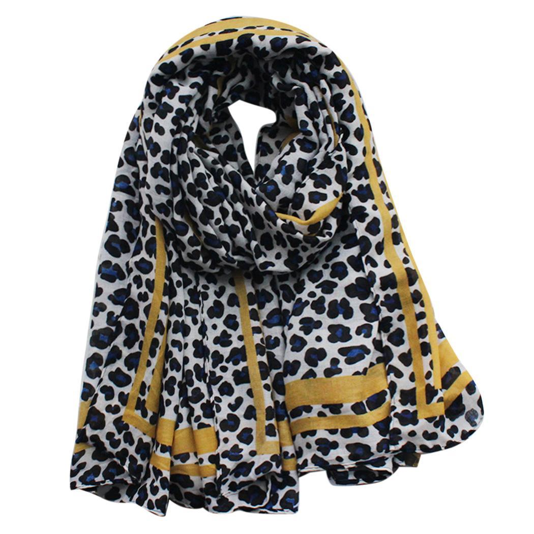 df519ee4 Mujeres estampado de leopardo Hijab bufandas moda suave Foulard Femme negro  gran pañuelo de invierno cálido diseñador para niñas cabeza bufandas