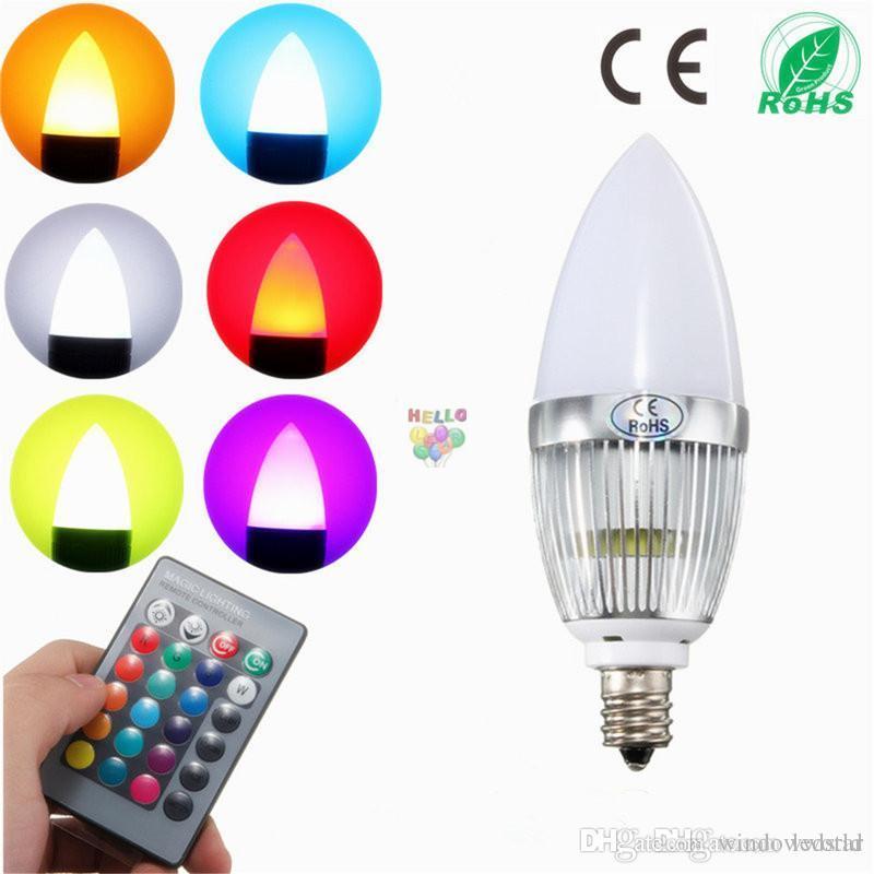 RGB Led Candle Lights E12 E14 3W Led Bulbs Lights 16 Colors Change + 24keys  IR Remote Control