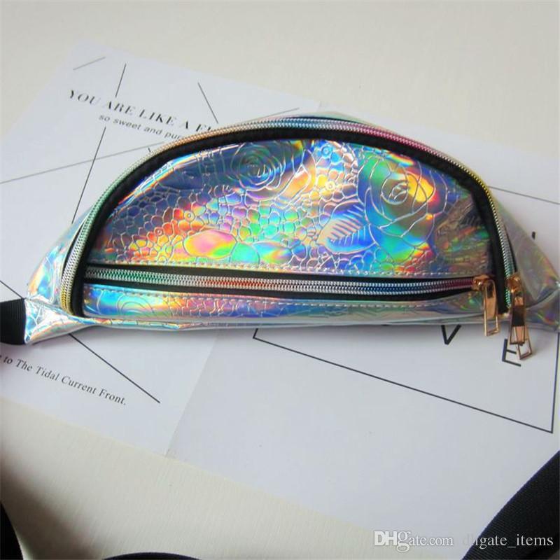 For Mobile Laser Hologram Clear PVC Bag Fanny Pack Waist Bags Harajuku Style Transparent Cash Pouch women Sports Messenger Chest Bags
