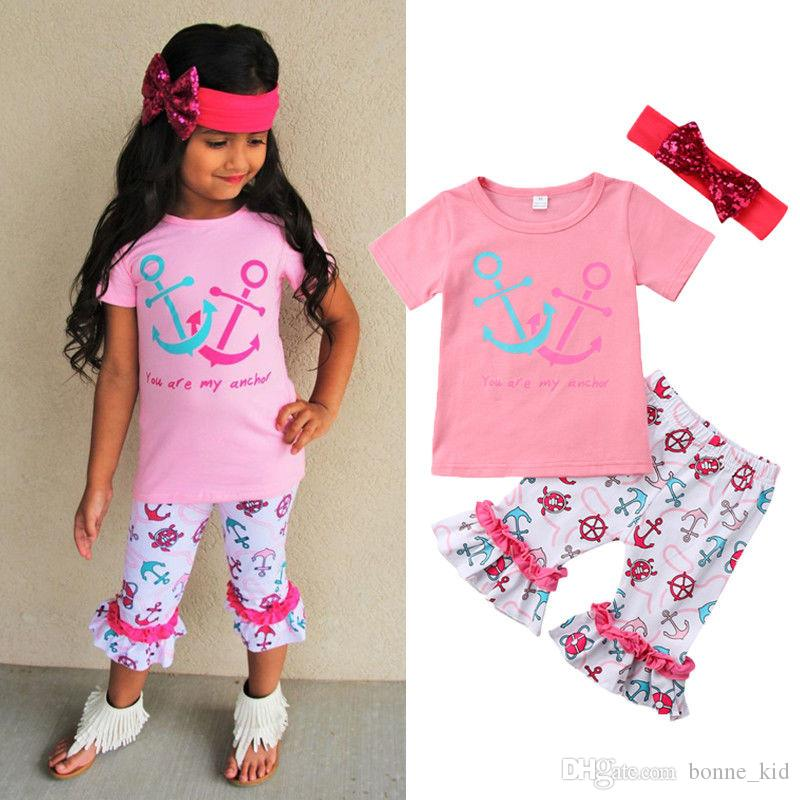 17d3e4bc5 2019 Kid Girls Pink T Shirt Ruffles Pants Headband Outfits Anchor Turtle  Helm Fashion Summer Baby Girls Clothing Boutique Costume From Bonne_kid, ...