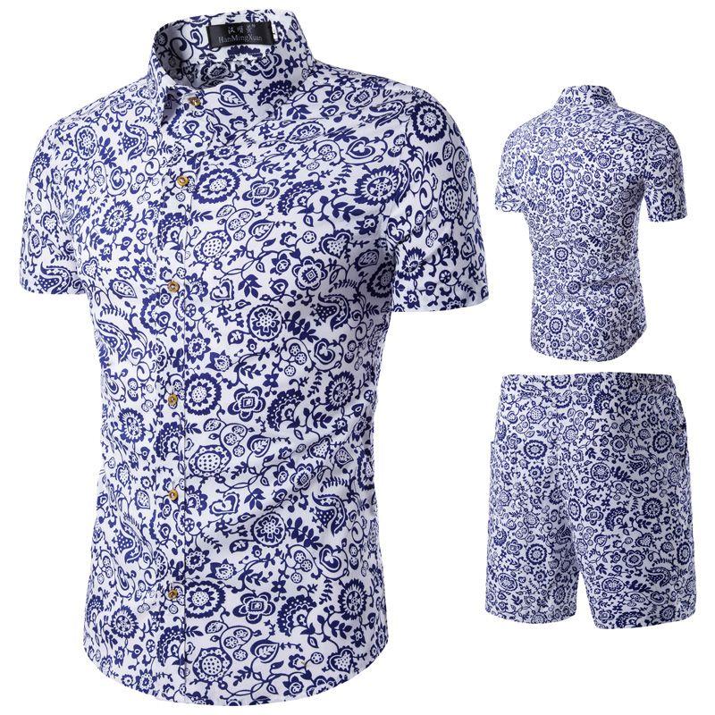 Compre Camisas De Flores De Moda Para Hombre Chándales De Verano Pantalones  Cortos Conjuntos De Ropa Trajes De Playa Casuales A  39.16 Del  Prettyamazing ... d1fbae54e74