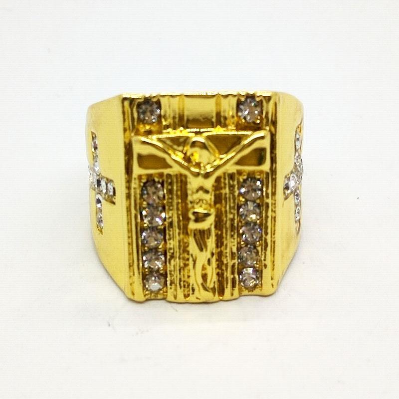Plaqué Or Cristal Prière Christian Jésus Conception Sainte Croix sculpté anneau pour Hommes Femmes Bague