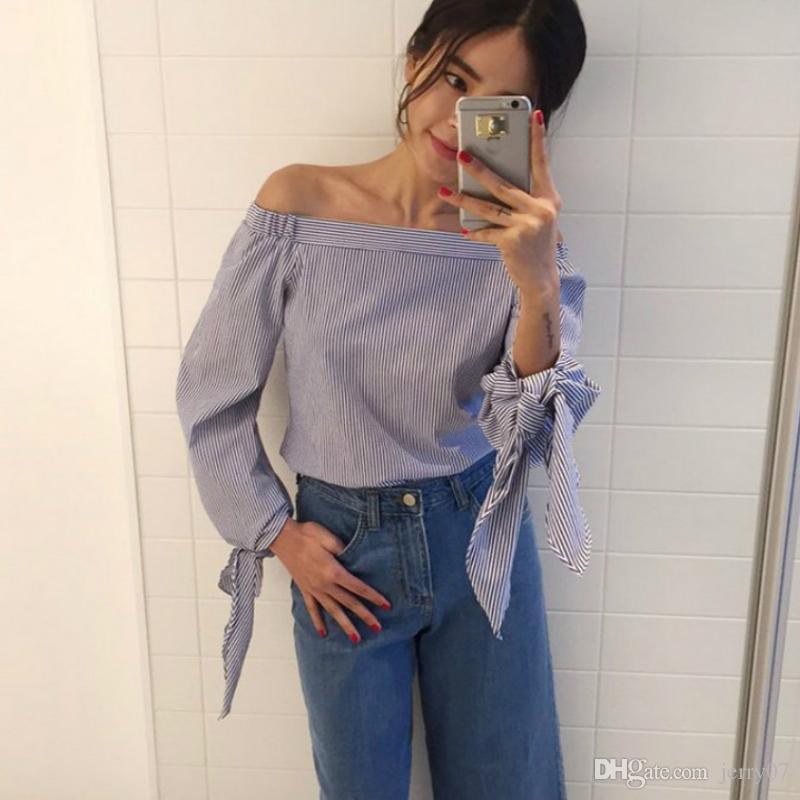28e630a2946 2018 Plus Size Women Sexy Blouses Slash Neck Off Shoulder Bow Long ...