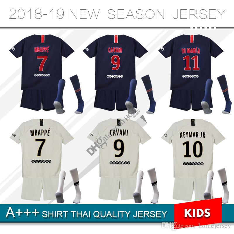 Compre Camisetas De Fútbol Paris Saint Germain Niños 2018 2019 PSG Camiseta  De Fútbol Maillot Camiseta DANI ALVES Jersey Verratti MBAPPE Cavani Di  Maria ... 6535f43f81fa3