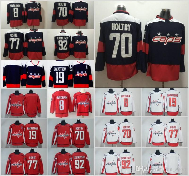 7133195bfd2 2019 New Washington Capitals 8 Alex Ovechkin 43 Tom Wilson 77 Oshie 19 Nicklas  Backstrom 70 Braden Holtby 92 Evgeny Kuznetsov Jersey UK 2019 From  Fan sport