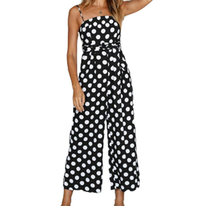 370ff90d8d 2019 Sexy Spaghetti Strap Polka Dot Jumpsuits Rompers Sleeveless Summer  Jumpsuit Sashes Beach Women Wide Leg Overalls Plus Size GV100 From  Liasheng02