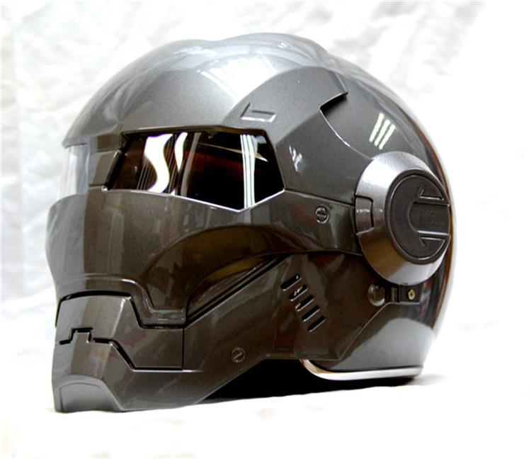 Masei Bike Scooter Moto Gray Classic Iron Man Helmet Motorcycle