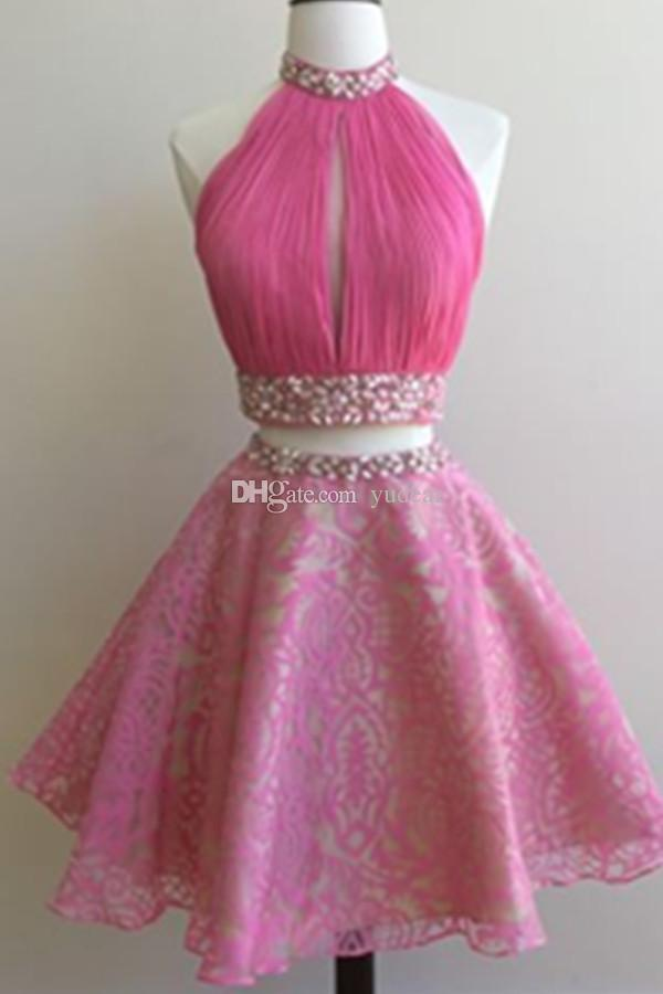 2019 High Neck Sexy Two Pieces Women Homecoming Dresses Top Pleats Keyhole Beadings Tulle Gilrs School Party Gowns Vestido de Fiesta Cheap