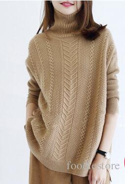 2018 2017 A Cashmere Sweater Loose Turtleneck Sweater In Thick ...