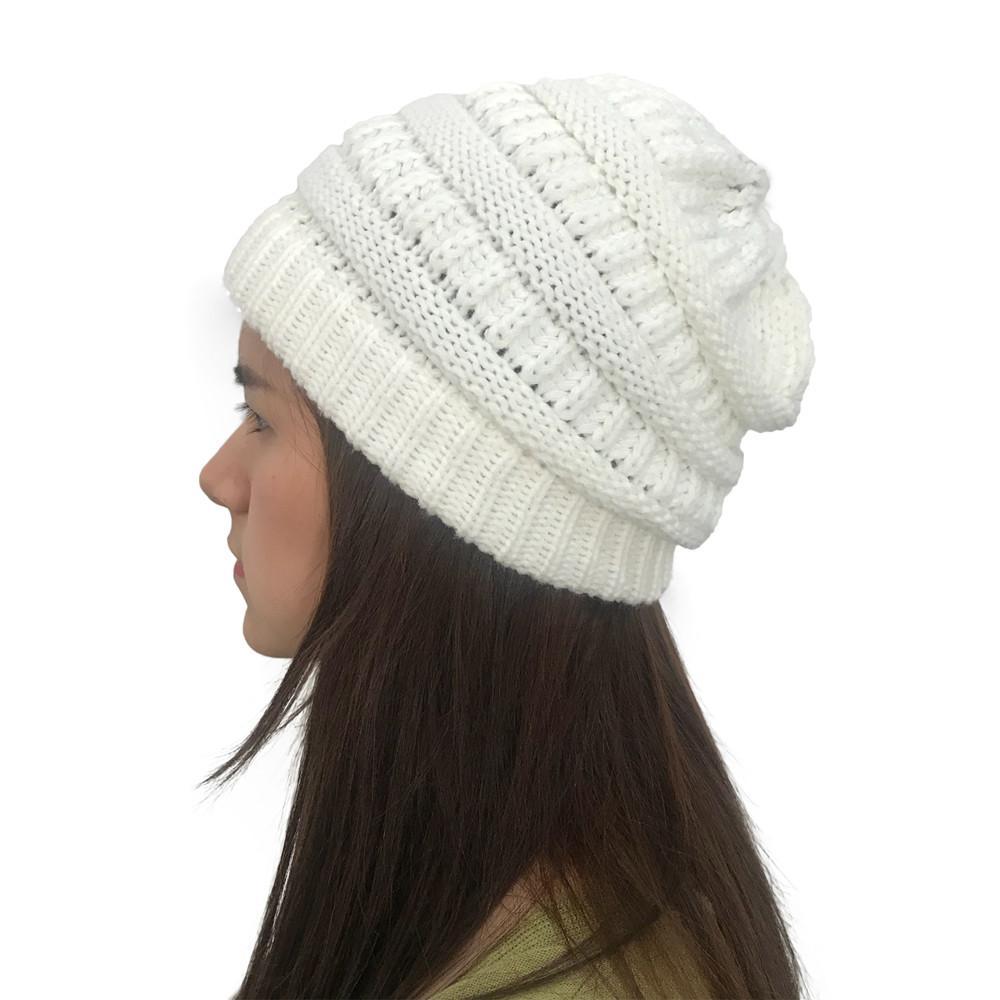 1b7ed80df Men Women Autumn Winter Outdoor Warm Hats Solid Knitted Crochet Holey  Beanie Cap Female Hats for Girls Head Warmer Accessory
