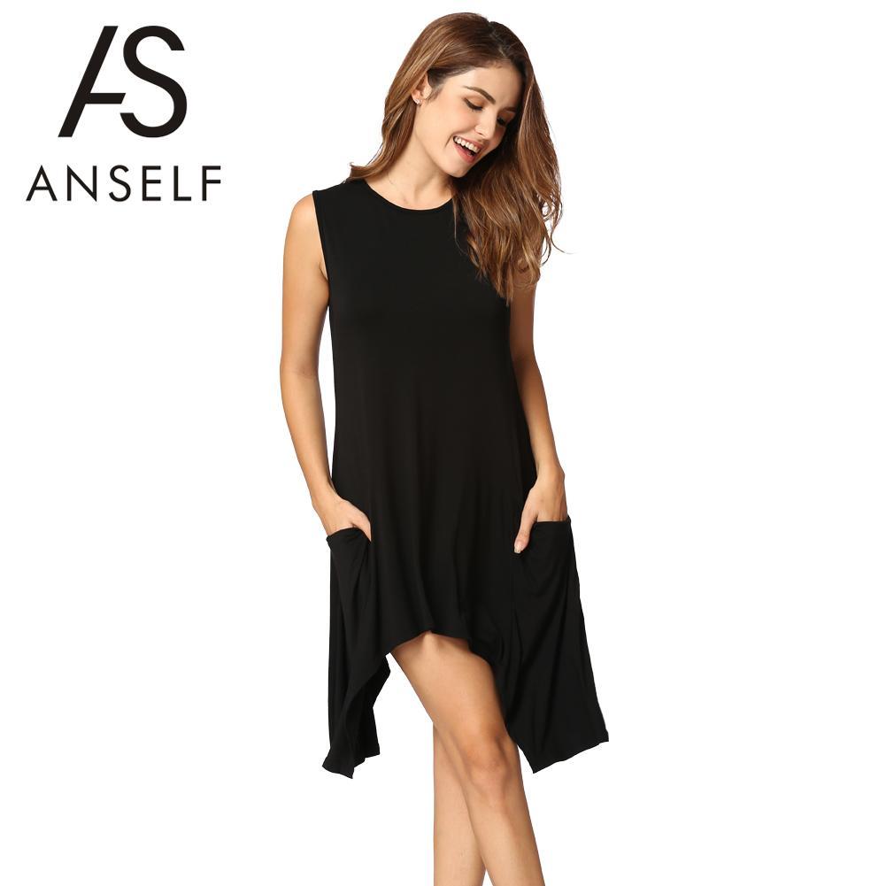 6e296b9f828bd XXXL Plus Size Women Shirt Dress Sleeveless Pocket Tunic Tank Dress ...