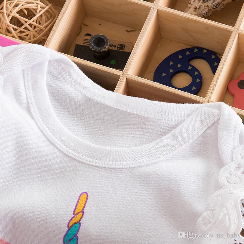 Meninas do bebê Outfit 0-2T INS Criança Unicórnio impressão de manga curta romper + saia Rosa + headband Conjunto de Roupas Recém-nascidos