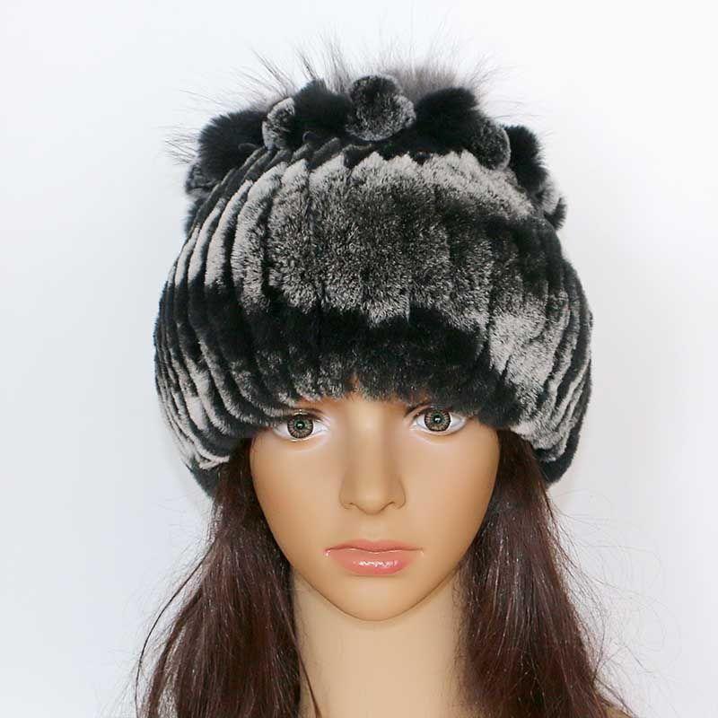 New Women Winter Rex Rabbit Fur Hat Real Rabbit+Fox Fur Beanies Fox Flower  Top Free Size Casual Women s Hat Black Baseball Cap Knitted Hats From  Lantana bf818d02c95