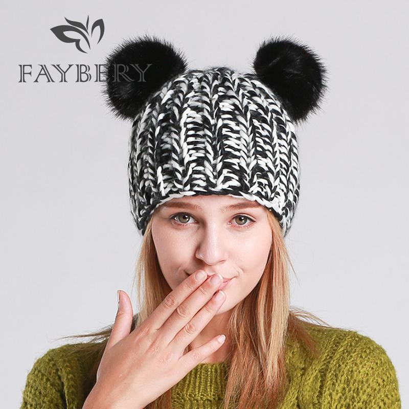 086cb1fa352 2018 Winter New Women Faux Fur Pom Pom Hat Winter Warm Cap Knitted Beanie  Double Ball Female Hats Woman Bonnet Cat Ears Beanie Cap Watch Cap From  Jianyue16