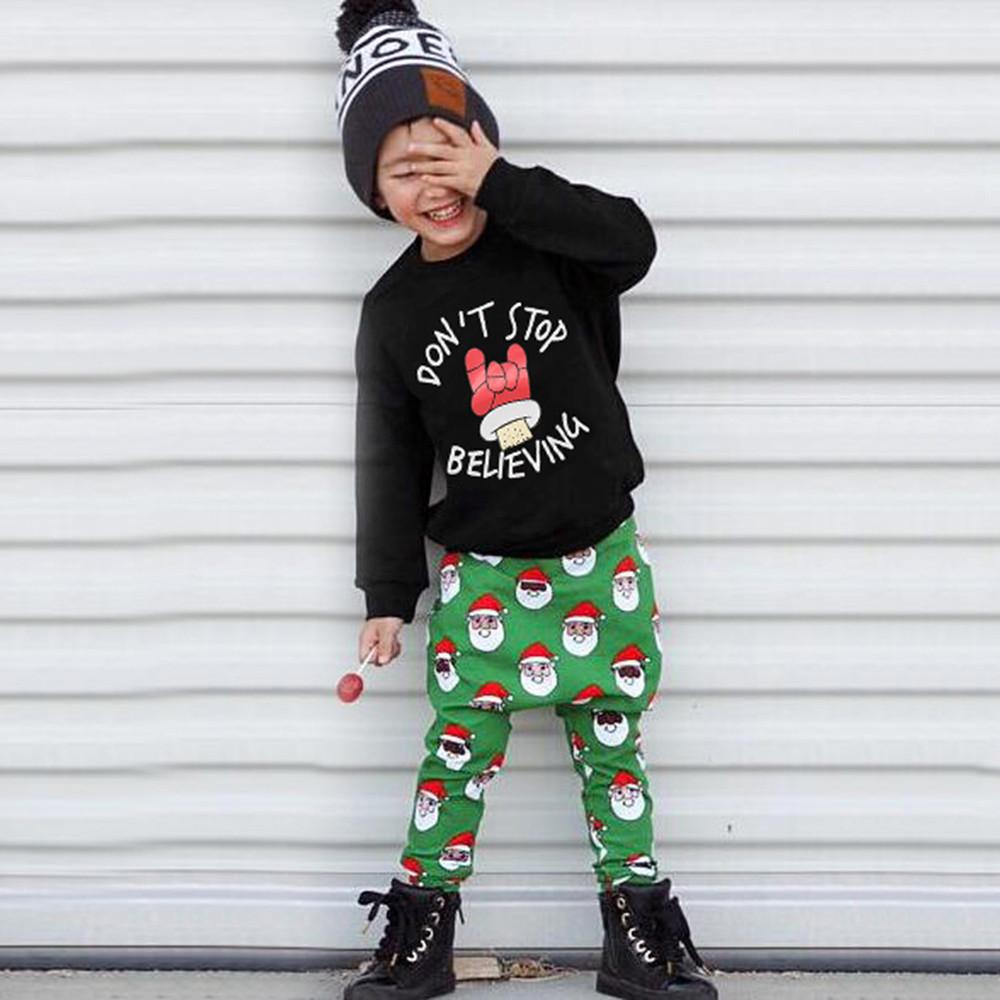 1412799b99 2019 Autumn And Winter Stylish And Fashion Design Oddler Baby Boys Girls  Christmas Long Sleeve Letter Print Tops Pants Outfit Set  30 From  Benedicty