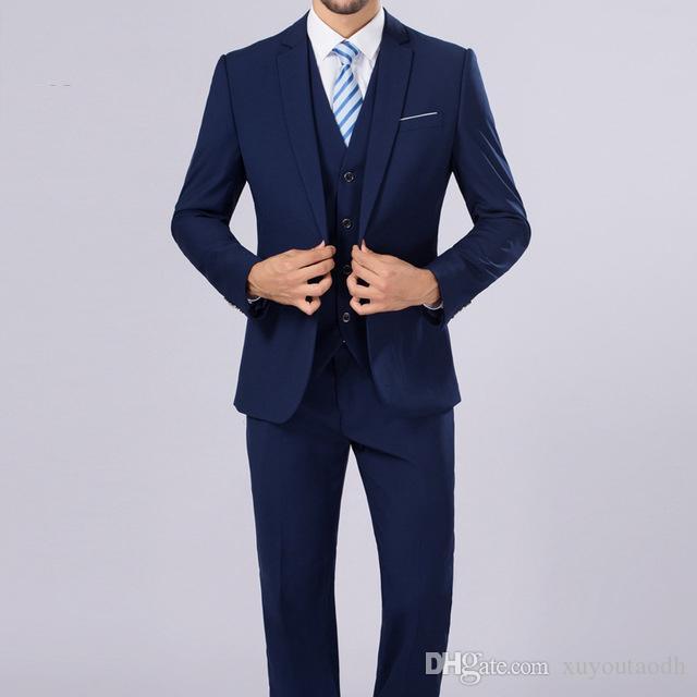 Acheter Bleu Marine Hommes Costumes Blazer Business Costumes Personnalisé  Tuxedo Tenue De Mariée 3 Pièces Slim Fit Costumes De Mariage Terno  Masculino Veste ... acfe1aad6fe