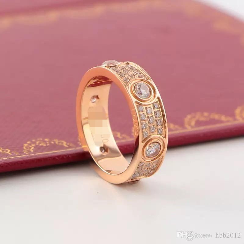 Chegada nova Top Quality 316L aço Titanium Love amantes amantes Banda Anéis Tamanho para As Mulheres em 6mm de largura com três linhas de Jóias com diamantes