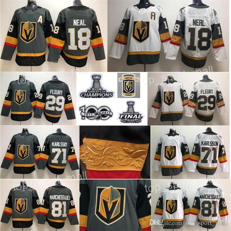 innovative design 5db89 c6911 2018 Stanley Cup Final Patch A Champions Inaugural Season Vegas Golden  Knights hockey 18 James Neal Jersey 29 Marc-Andre Fleury 100th Gray