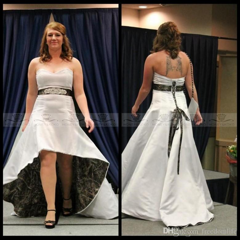 Discount Vintage Sweetheart Beaded Crystal Waistline High Low Camo Wedding  Dresses Lace Up Back Formal White Plus Size Camouflage Bridal Gowns 2018  Line ... e36c8790ed71