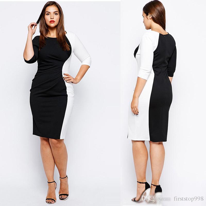 c78d71eb312 Compre Mulheres Vestidos De Trabalho Preto E Branco Roupas Profissionais  3 4 Lápis Manga Vestido Mulheres Plus Size O Pescoço Vestido De  Firststop998