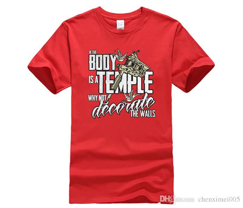 369df64ac7b Compre Si El Cuerpo Es Un Templo, La Camiseta Del Tattoist Del Arte Del  Tatuaje Del Hombre Regalo Para Papá Él Camiseta De La Ropa De La Marca De  Fábrica De ...