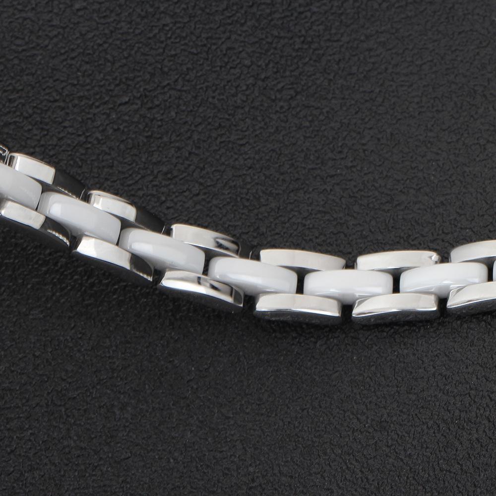 KUNIU 21 CM Pulseiras De Cerâmica Branca Para Pulseira De aço Inoxidável Das Mulheres festa de Casamento jóias