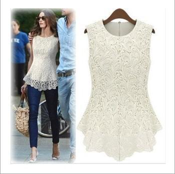 2018 New Women's Summer Top Europe and the United States sleeveless lace shirt with chiffon round neck bottom shirt
