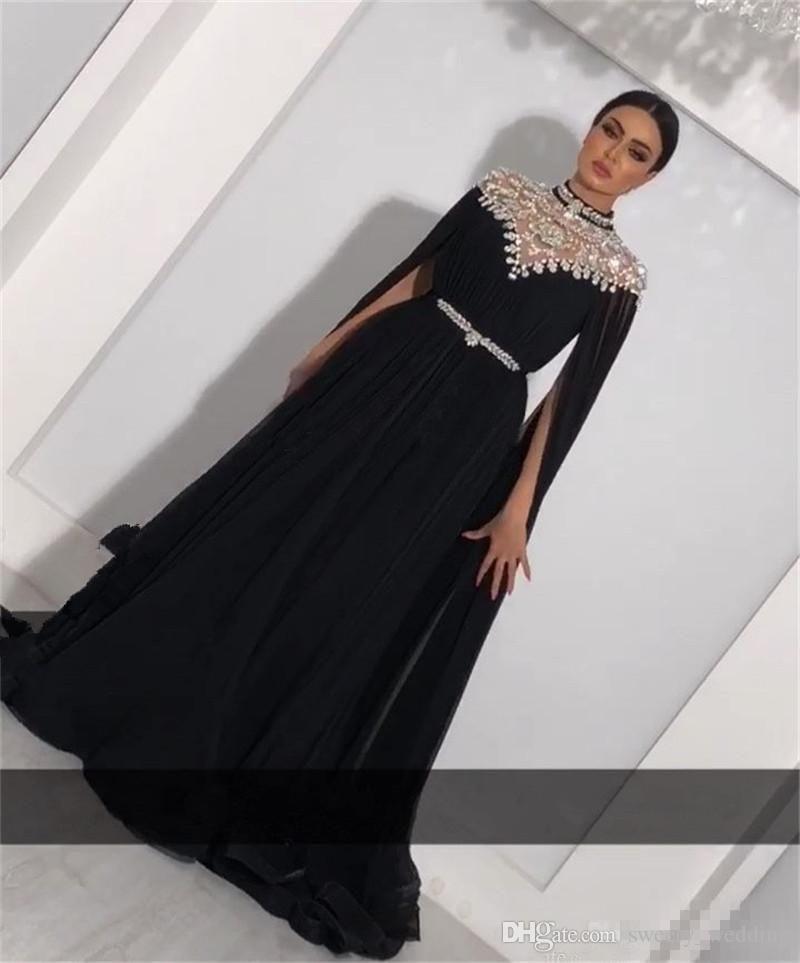 Plus Size Crystals Kaftan 2018 Prom Dresses Caped Long Sleeves Yousef Aljasmi High Neck Black Long Chiffon Arabic Formal Evening Gowns