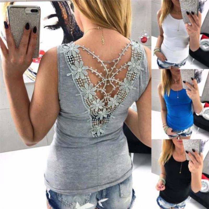 2c0b5ebf7a19 2019 Women Sexy Sleeveless Backless Hollow Out Shirt 2018 Summer Lace  Flower Tank Top Blouse Vest Tops T Shirt From Piaocloth, $39.1 | DHgate.Com