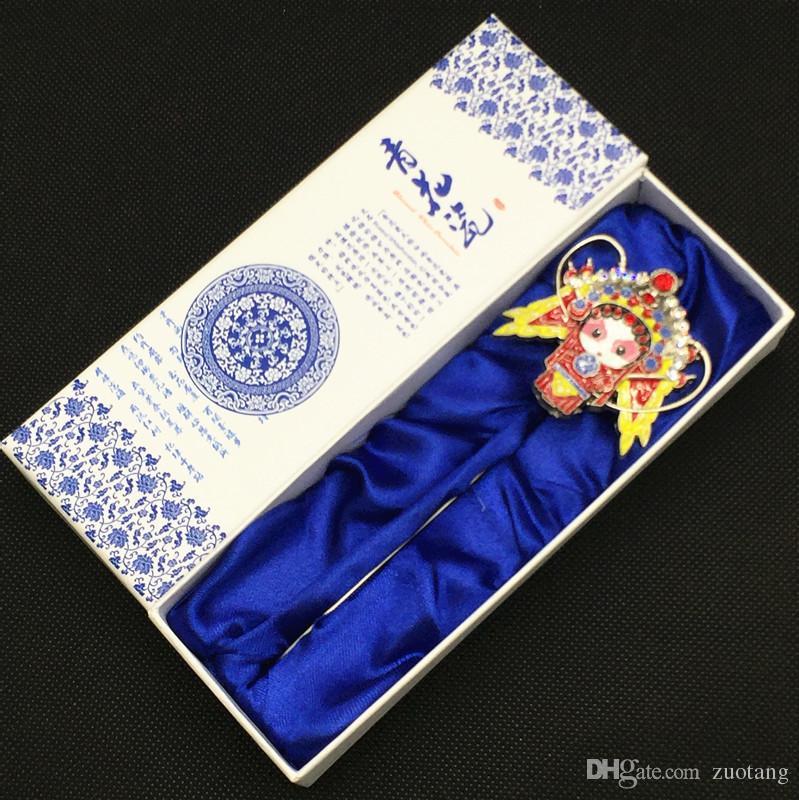 Étnico metal Vintage marcador chino Q versión Cloisonne Opera Marcadores para libros Vintage con caja de regalo Business Office Teacher Gifts