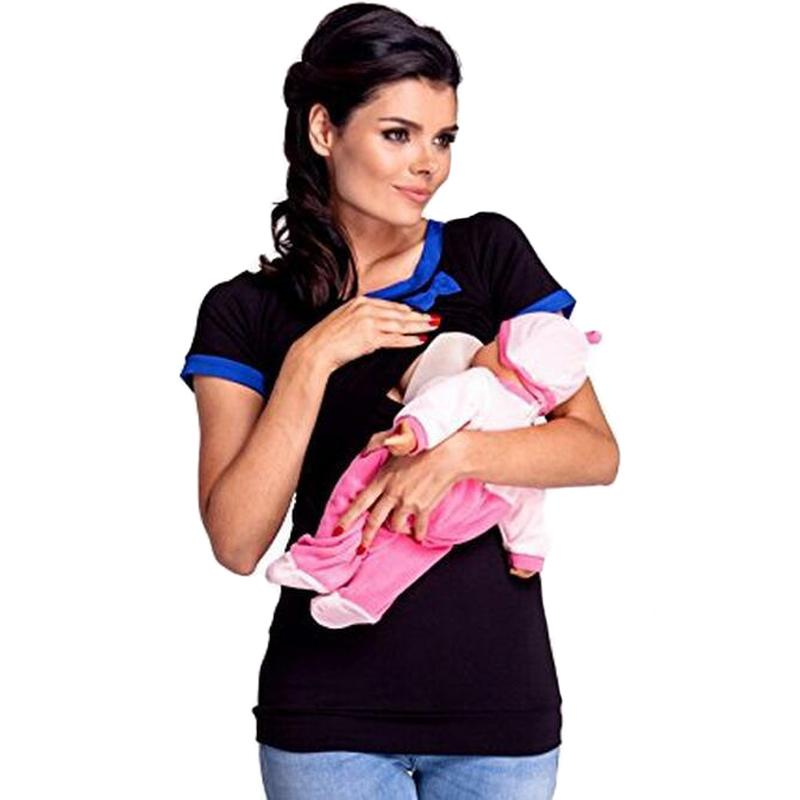 f7373cfdeec27 2019 2018 Summer Breast Feeding Tops Tees Maternity Nursing Clothes  Pregnant Women Breastfeeding T Shirt Maxi Premama Wear Clothing From Humom,  ...