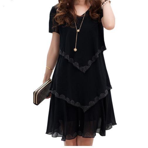 e7fc6fd2b2c 5XL Plus Size Women Clothing 2019 Chiffon Dress Summer Dresses Party Short  Sleeve Casual Vestido De Festa Blue Black Robe Femme Little Black Dress Prom  ...