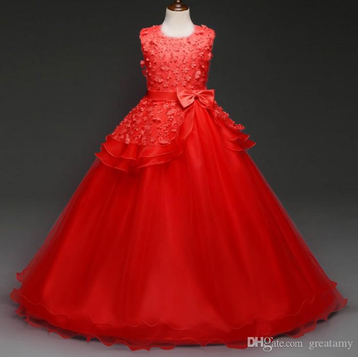 Retail sample offer baby girl prom dress 3d flower girl's party skirts children boutique lace tutu skirts big girl wedding dress