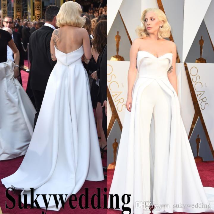 a6c15d972d Lady Gaga Tapete Vermelho Vestidos Calças Brancas Macacão Outfits Mancha  Vestidos de Noite Formal Do Partido Do Baile de Finalistas Vestidos de  Celebridades ...
