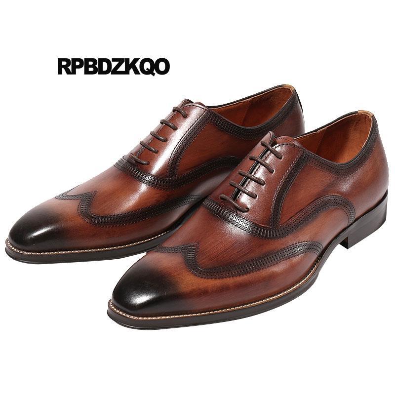 384979ec14b Brogue Pointed Toe Italy Italian Custom Handmade Shoes Formal European  Vintage Dress Brown Wingtip Wedding Men Oxfords Brand Cheap Shoes Online  Fashion ...