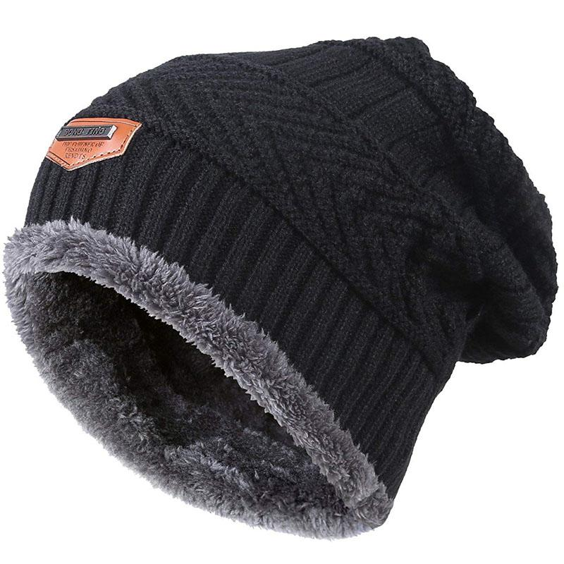 Men Warm Winter Knitted Beanie Hat Fleece Sullies Cap Black Male ... 345a2969a476