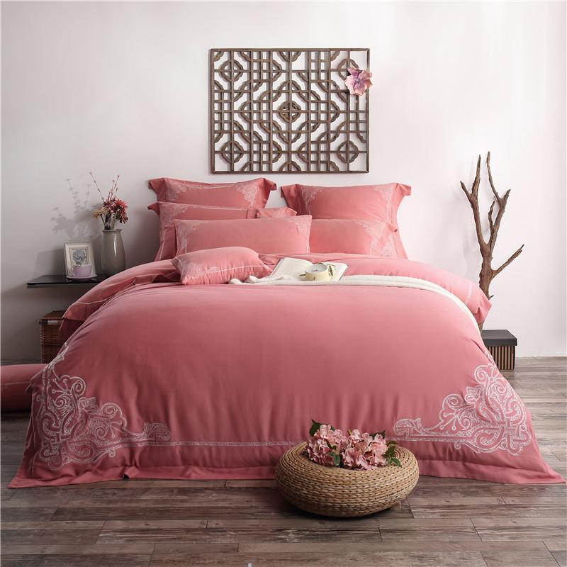 100 Cotton Boho Style 4bedding Set Red Bed Sheets Embroidered