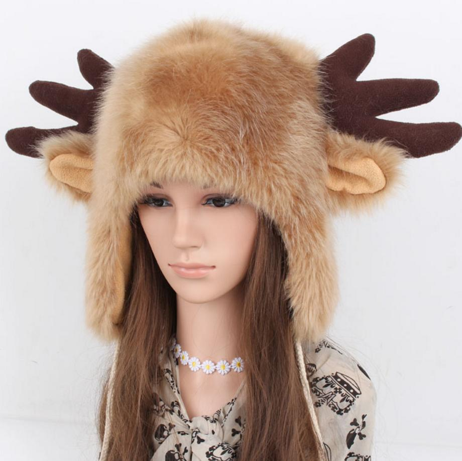 65393d06e6369 2019 2018 Winter Fur Hat For Womens Classic Solid Winter Hat For Women  Earflap Cap Russian Christmas Antlers Bomber Girls Cap From Mangosteeni