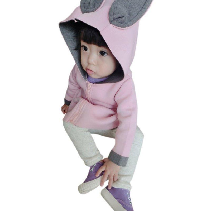 2017 Малышей Девушки Сердце Молния Топы Балахон Пальто Ребенок Ребенок Теплый Кролик Шляпа Куртка Толстовка